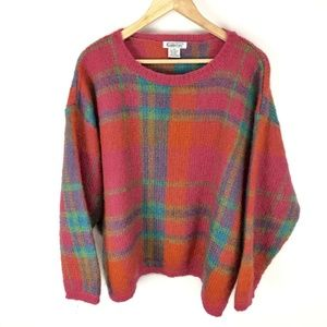 Vintage Bright Plaid Mohair Pullover Sweater